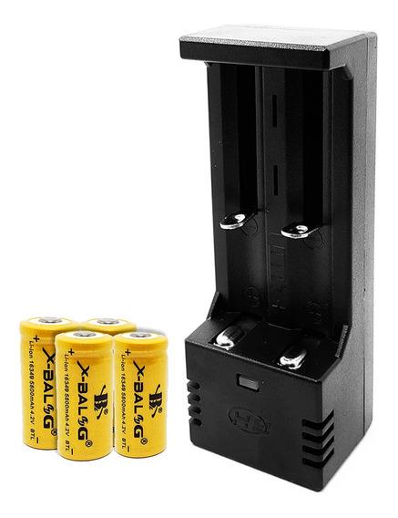 Carregador Duplo + 4 Baterias Gold 16340 Cr123a Recarregável