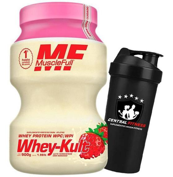 Kit Whey Kult 900g Morango Muscle Full + Coqueteleira