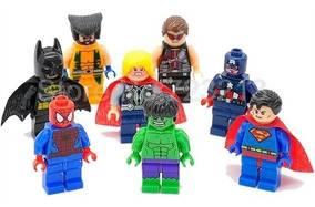 Kit 8 Bonecos Minifigures Vingadores Marvel Dc Herois