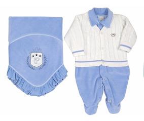 Kit Saida De Maternidade Paraiso Plush Bebê Menino Azul 7053