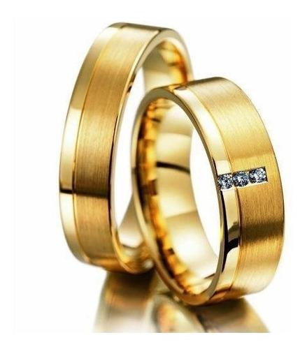 Imagem 1 de 5 de Par Alianças Ouro 18k 750 Anatômica 8 Gr Diamantes Casamento