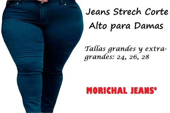 Pantalón Jean Strech Corte Alto Para Damas Grandes Plus