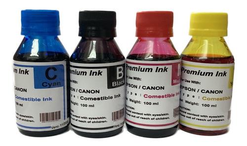 Tintas Comestible, Pack 4 Colores En 100 Ml Cada Una