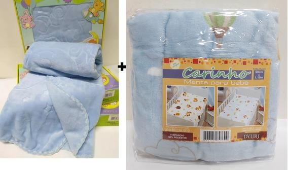Kit Com 2 Jolitex Cobertor Touch Texture + Manta Bebe Menino