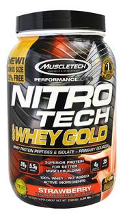 Nitro Tech 100% Whey Gold (999g) Morango Muscletech
