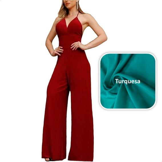 Macacão Fashion Calça Pantalona Com Bojo - Frete Grátis
