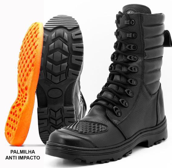 Coturno Bota Atron Shoes 277 Em Couro Militar Moto Swat Bope