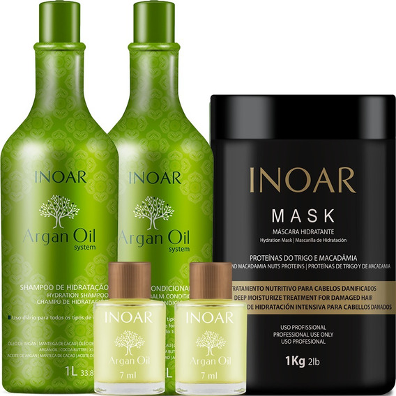 Kit Inoar Argan Oil System 2 Litros + Mask 1 Kg (5 Produtos)