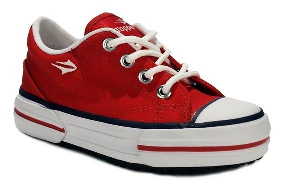 Zapatillas Topper Nova Low Kids Lona Rojo 25 Al 34 83685