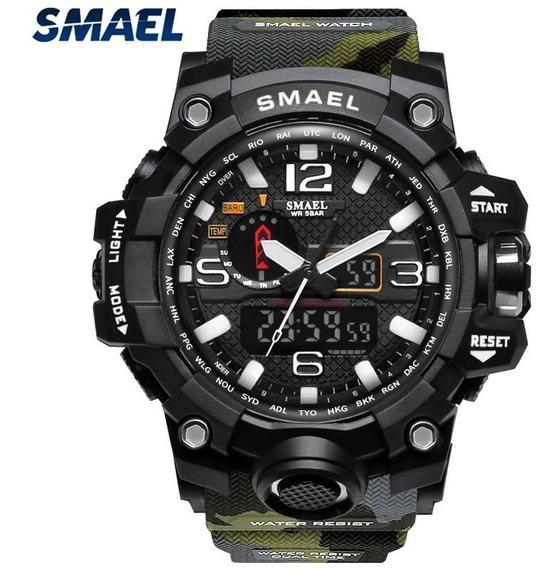 Relógio Smael 1545 Militar Shock Original Camuflado Nf-e