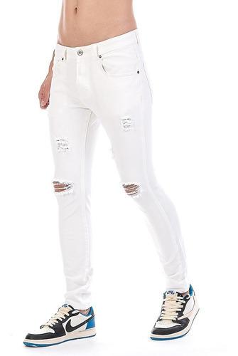 Imagen 1 de 6 de Jeans Pantalón De Mezclilla Stretch Blanco Hombre Demolición