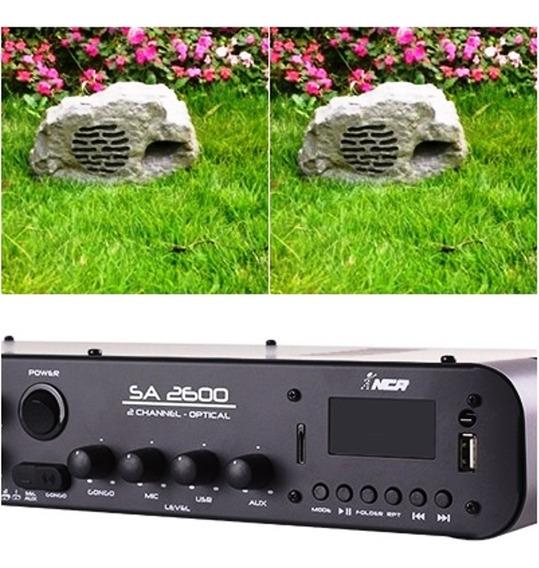 Kit Jardim Soundstone - 1 Amplificador Sa2600+2 Caixas Pedra