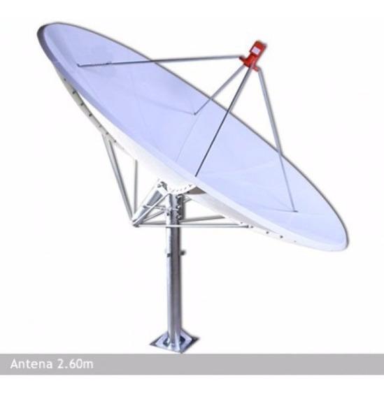 Antena Parabólica De Fibra 260 Cm Lerosat Banda C E Ku