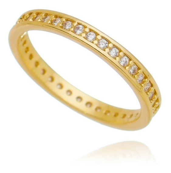 Anel Aliança Cravejado De Zircônias Cristal Semi Joia Ouro
