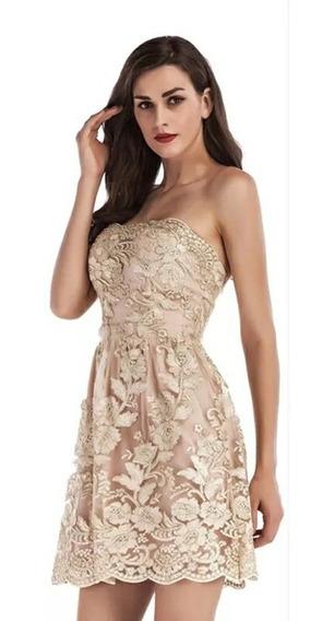 Vestido De Debutante Curto Champanhe Escuro - Tamanho 34-36