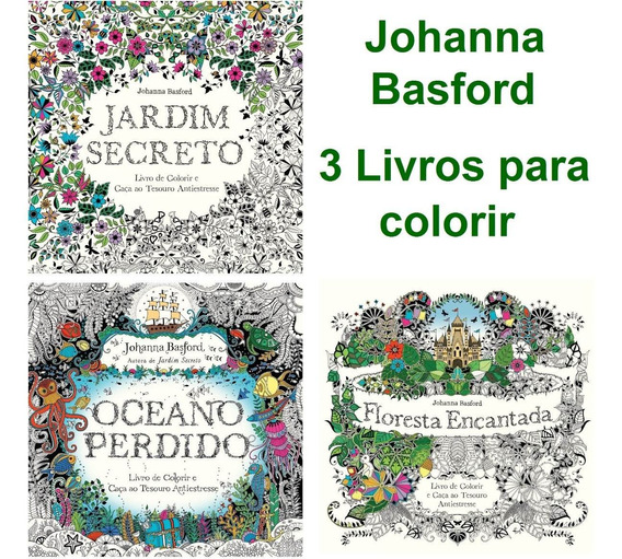 3 Livros De Colorir Jardim Secreto Floresta Encantada Oceano
