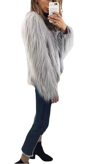 Inverno Faux Fur Coat Cor Sólida Manga Comprida Fofo