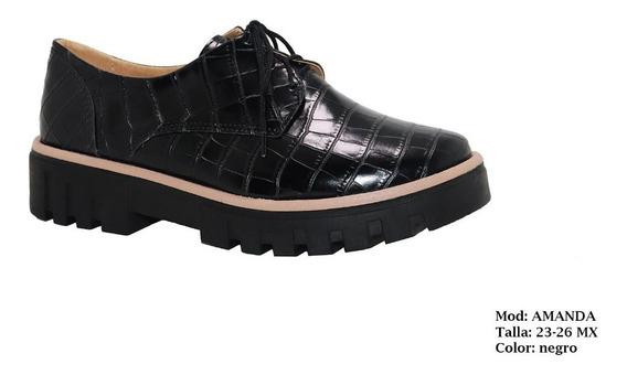 Zapato Charol, Diseño Cocodrilo Negro Mujer Dama Moda Comodo