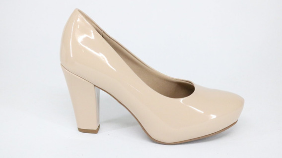 Sapato Piccadilly Soft Step Salto Alto Bege