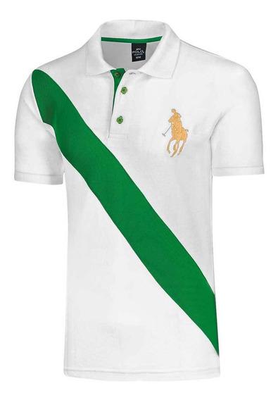 Playera Hombre Polo Hpc Blanco Verde 064-640