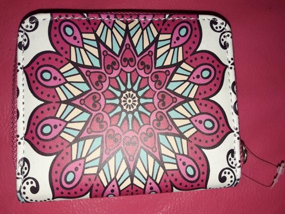 Billetera De Dama Rosa Con Diseño