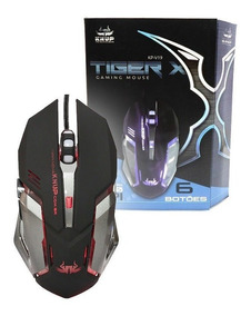 Mouse Gamer Knup Tiger X Óptico 2400dpi 6 Botões Usb Led