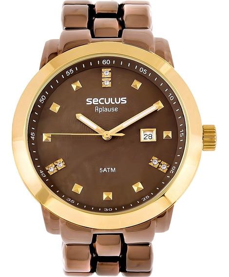 Relógio Feminino Seculus 20422lpsvma2 Aço Marrom