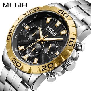 Reloj Megir Plateado Con Bicel Dorado, Cronogaro