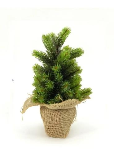 Imagen 1 de 2 de Planta Artificial Maceta Con Arpillera Y  Pino 35cm Aprox