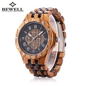Bewell Zs - W116c Hombres De Madera De Cuarzo Reloj Romano N