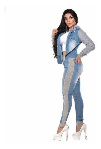 Conjunto Jaqueta + Calça Jeans Com Moletom Inverno P M G Gg