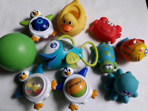 Imagen 1 de 5 de Lote 10 Juguetes P/bebes Ideal Para Jugar En La Bañera