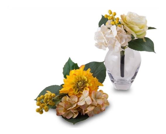 Ramo De Flores Amarrillos Artificiales Frutos Con Flores
