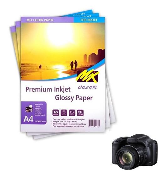 Papel Fotográfico A4 115g Glossy Com 1000 Folhas Mixcolor