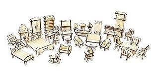 1set = 34pcs Muebles De Casa De Muñecas De Madera Escala De