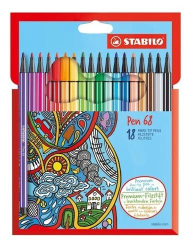 Marcador Stabilo Pen 68 Set 18 Colores
