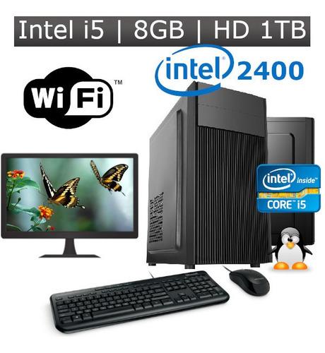 Pc I5 2400 8gb Hd 1tb + Kit Monitor 19  Wifi + Linux Desktop