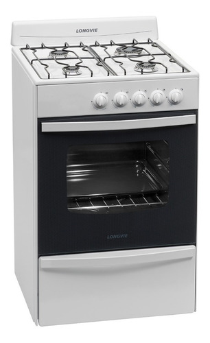 Cocina A Gas Longvie 13231bf 56cm Blanca Cajón Parrilla