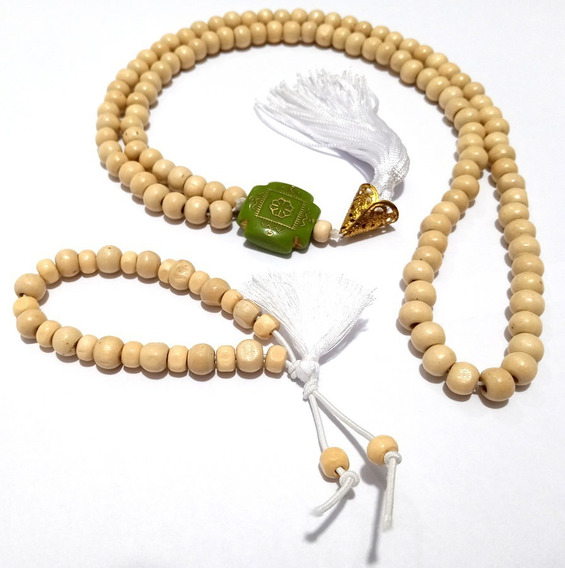 Colar Japamala Branco Madeira 108 Contas 8mm + Pulseira