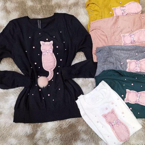 Kit4 Casaquinho Feminino Perolas Gato Suéter Tricot Atacado