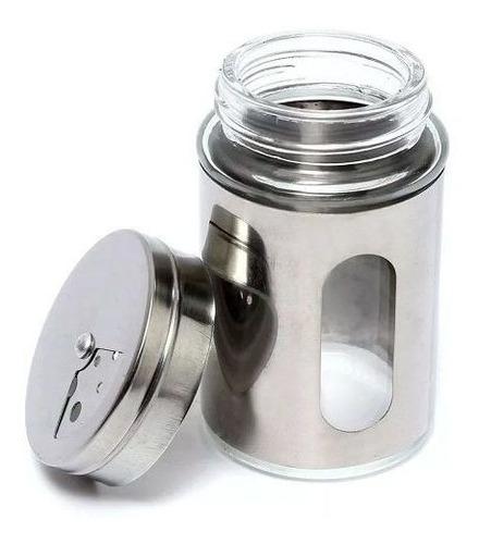 Imagem 1 de 4 de Saleiro Pimenteira Porta Condimentos  Vidro E Inox Com Visor