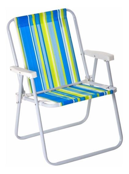 Cadeira Praia Piscina Camping Aço Infatil Dobrável
