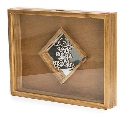 Caixa Porta Rolhas C/ Vidro E Espelho Triangulo Gg Pinus Lux