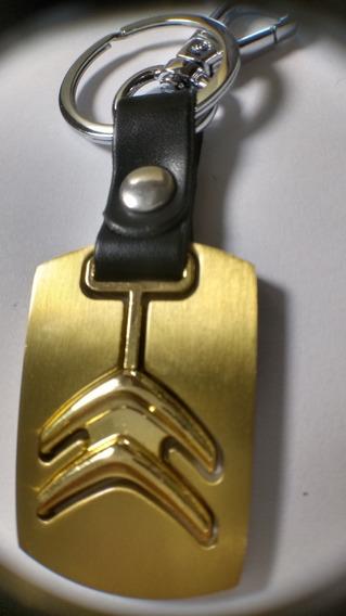 Chaveiro Liga Metal Couro Preto Citroen Dourado