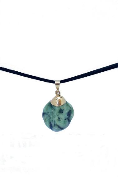 Pingente Esmeralda Pedra Natural Cordão De Couro