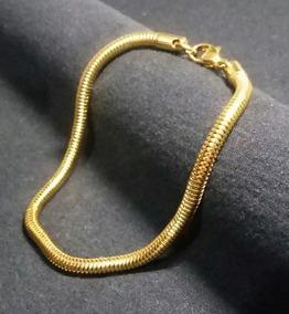 Pulseira Bracelete Banhada A Ouro 18k Cobra 21cm Por 6mm.