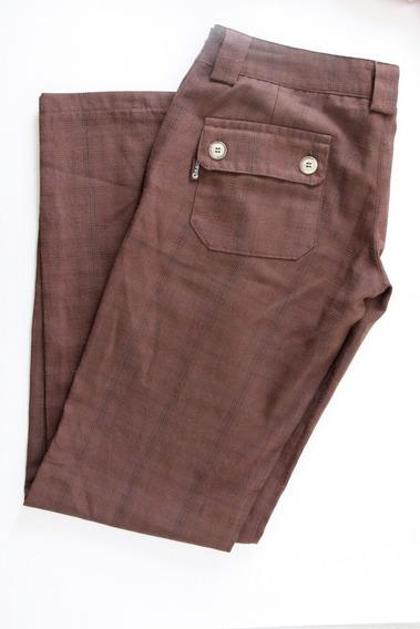 Pantalon Marron Recto Cuadrillé