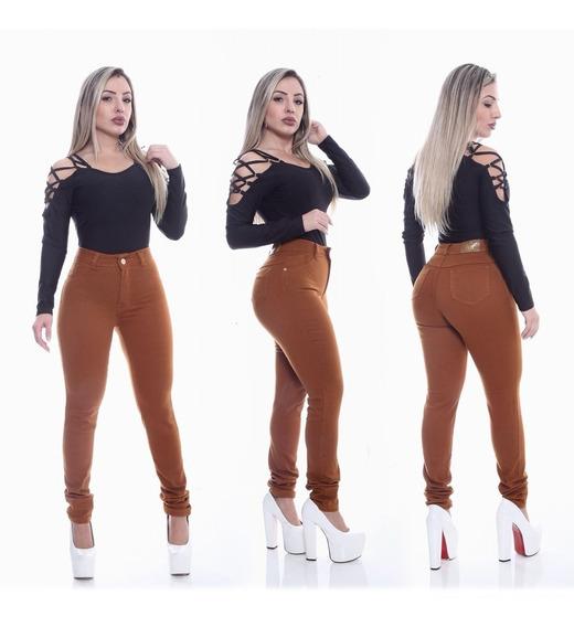 Calça Jeans Feminina Caramelo Hot Pants / Cintura Alta