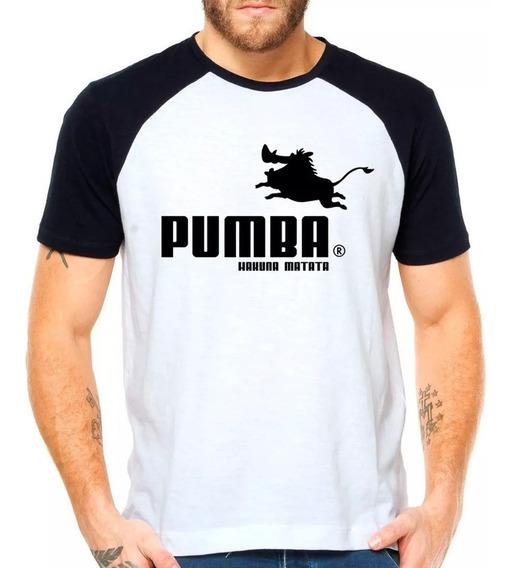 Camiseta Pumba Puma Rei Leão Raglan Manga Curta