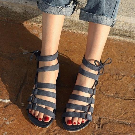 Las Mujeres Casual Roma Gladiador Sandalias Zapatos De Cruz